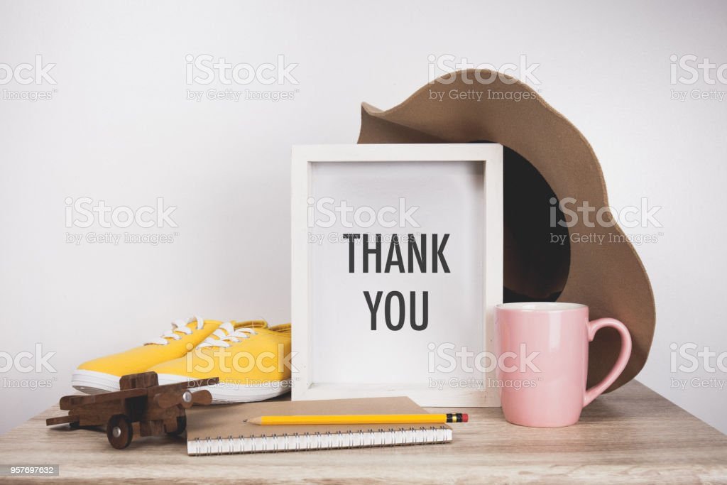 Thank you word with White frame mockup stock photo