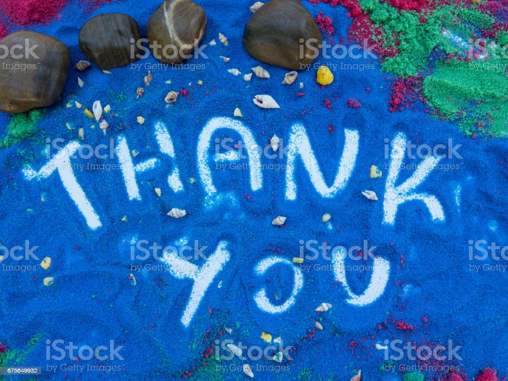 thank you written  in colors sand royalty-free stock photo