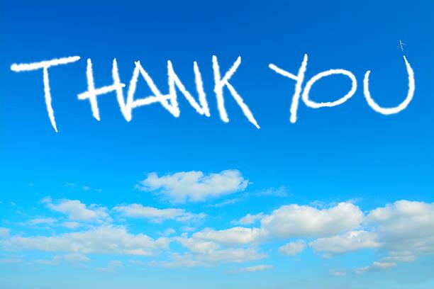 danke geschrieben in die himmel - schrift am himmel stock-fotos und bilder