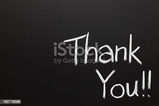 istock Thank you wrote on a chalk board 183779599