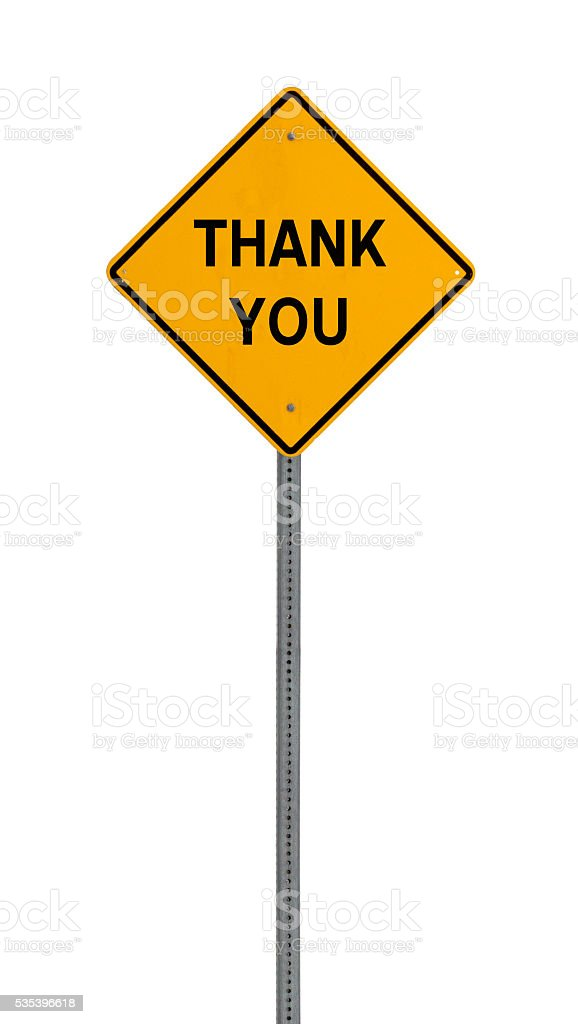thank you - Yellow road warning sign stock photo