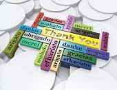 ありがとう、メルシー、グラシアス、3 D wordclouds のコンセプト