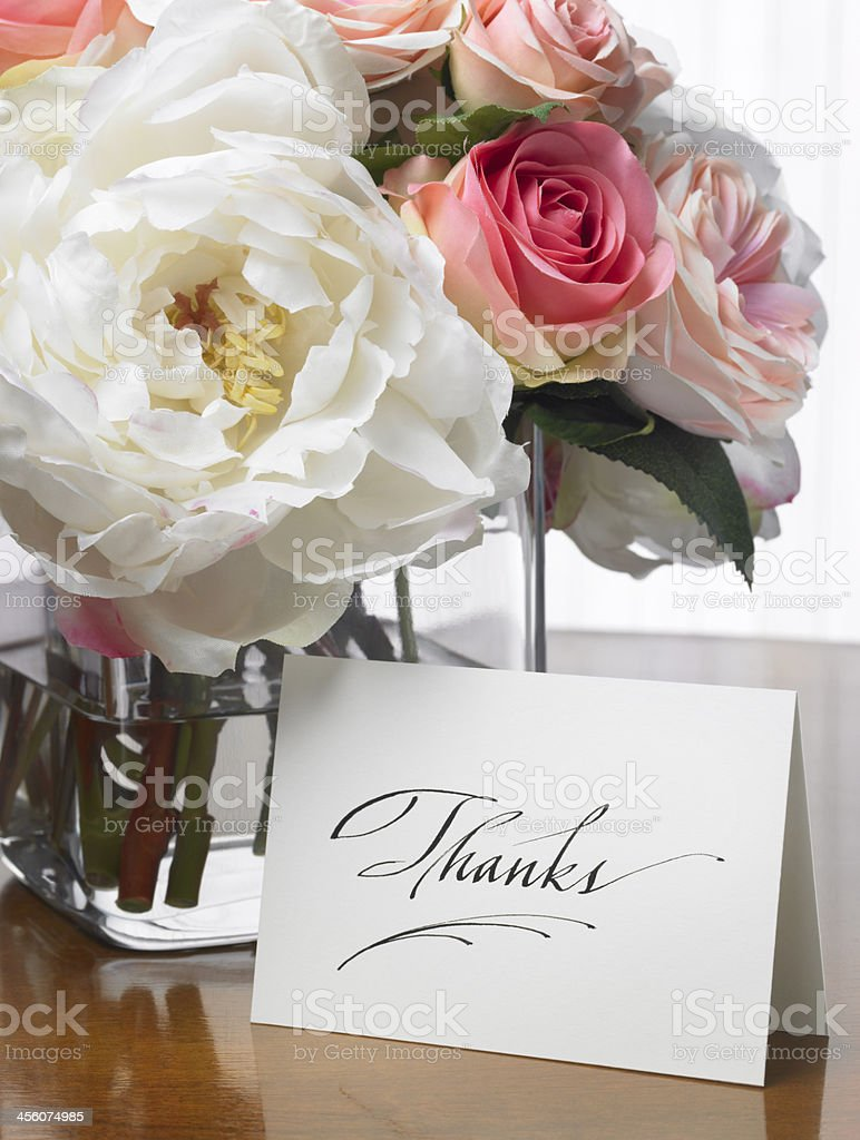 Thanks card with flower bouquet stock photo