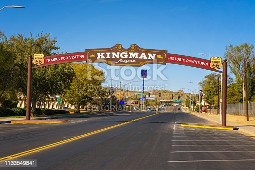 Kingman, Arizona, USA - October 24, 2018: Thanks for visiting Kingman downtown, a wide arched street sign located on historic route 66.