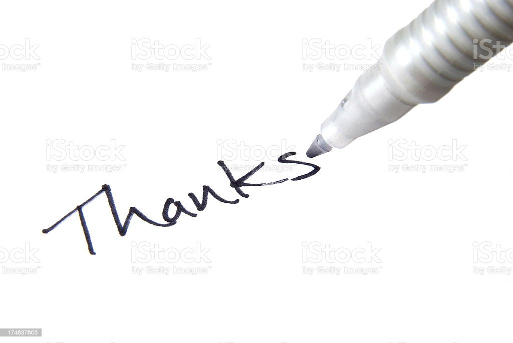 Thanks handwriting royalty-free stock photo