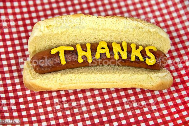 Thanks On Hot Dog With Mustard Stock Photo - Download Image Now