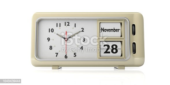 istock Thanksgiving 2019 date, November 28th on a retro alarm clock isolated on white background. 3d illustration 1043426444