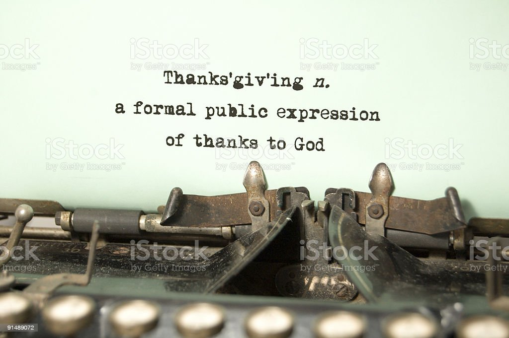 Thanksgiving - a Definition on antique typewriter royalty-free stock photo
