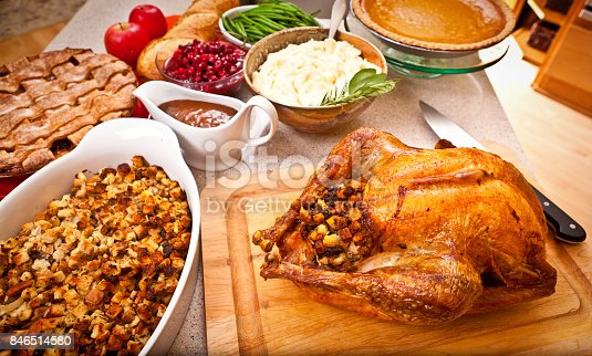 istock Thanksgiving and Christmas Dinner with Roast Turkey and Accompaniments 846514580