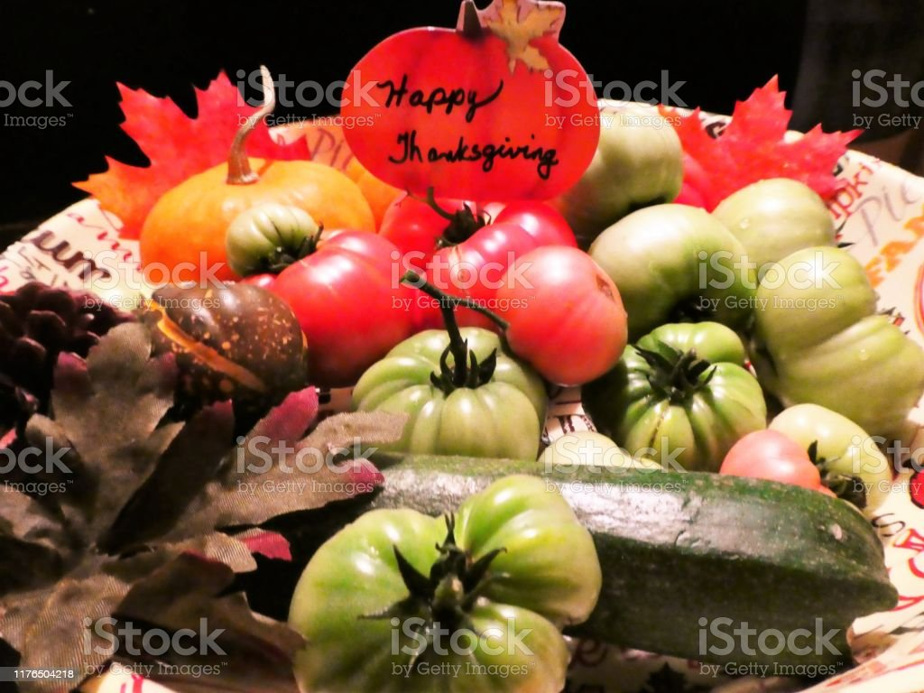 Thanksgiving Autumn Garden Harvest Fruit And Vegetables In A