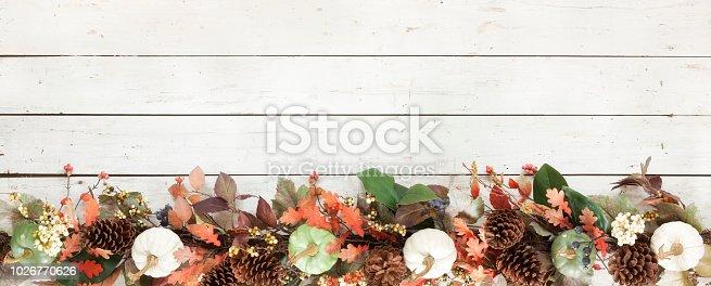 istock Thanksgiving Autumn Harvest Pumpkin Garland on an Old White Wood Background 1026770626