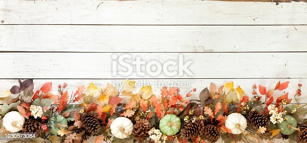 istock Thanksgiving Autumn Harvest Pumpkin Garland on an Old White Wood Background 1030573084