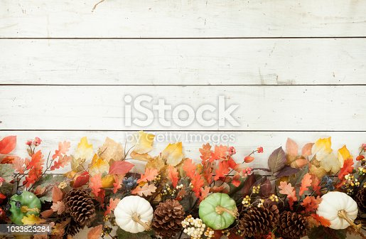 istock Thanksgiving Autumn Harvest Pumpkin Garland on an Old White Wood Background 1033823284