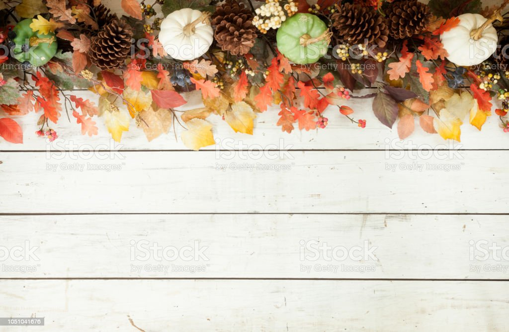 Thanksgiving Autumn Harvest Pumpkin Garland On An Old White Wood Background Stock Photo Download Image Now Istock