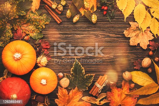 Thanksgiving background, food autumn harvest concept. Rustic table with Apples, pumpkins, nuts, grapes and corn on dark table with copy space, top view
