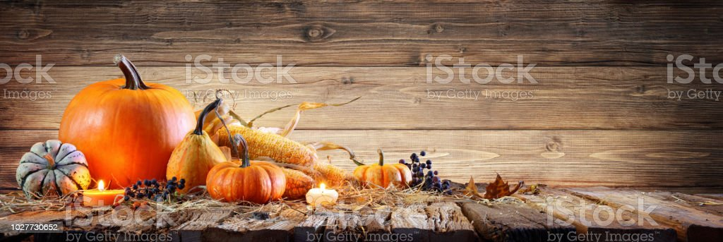 Thanksgiving Background - Pumpkins With Corncob And Candles On Rustic Wooden Table stock photo