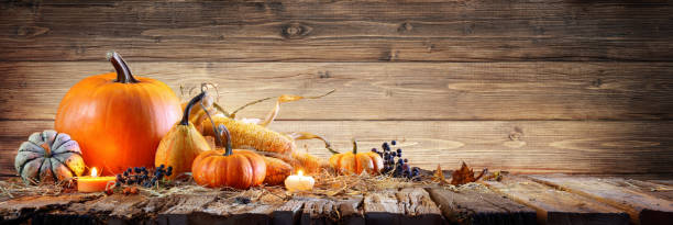 Thanksgiving Background - Pumpkins With Corncob And Candles On Rustic Wooden Table - foto stock