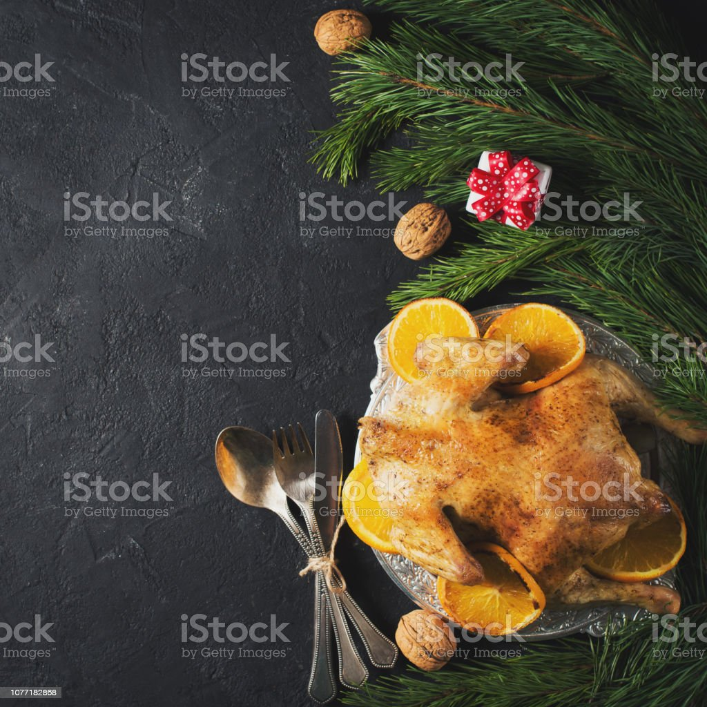 Thanksgiving background - turkey with fruits stock photo