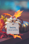 istock Thanksgiving background with metallic pumpkin, greeting and leaves 1035696362