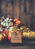 istock Thanksgiving background with metallic pumpkins 844645142