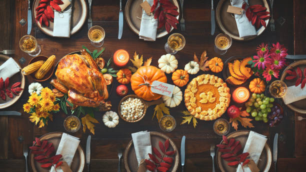 Thanksgiving-Feier traditionelles Abendessen – Foto