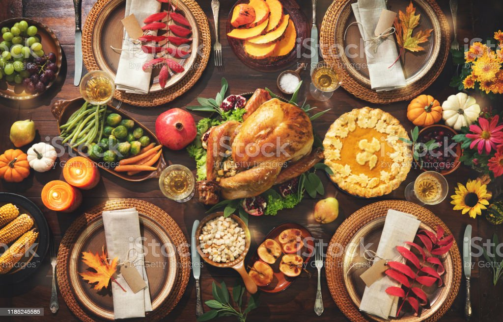 Thanksgiving celebration traditional dinner - Zbiór zdjęć royalty-free (Bankiet)