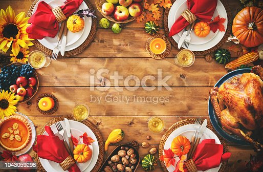 istock Thanksgiving celebration traditional dinner setting meal concept 1043059298