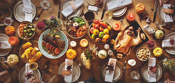 Thanksgiving Celebration Traditional Dinner Table Setting Concep - foto stock
