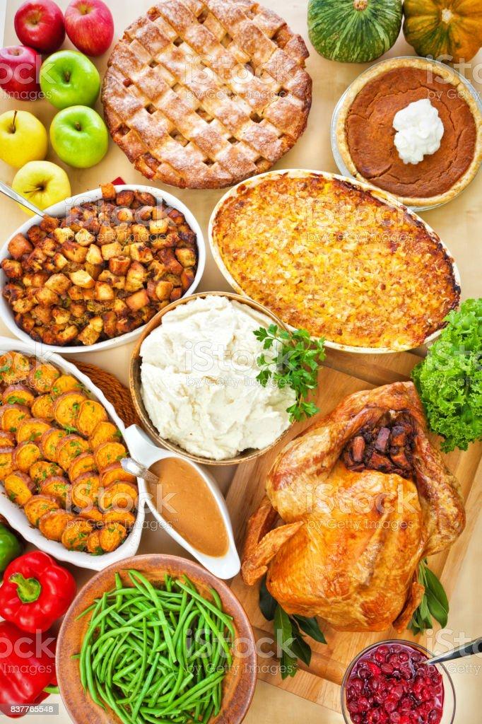 Thanksgiving Weihnachten Braten Türkei Abendessen Mit Beilagen Drum ...