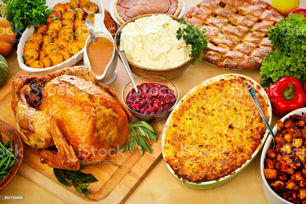 Thanksgiving, Christmas, Roast Turkey Dinner with Side Dishes Trimmings stock photo