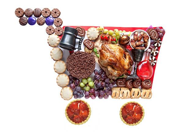 thanksgiving und weihnachten einkaufswagen - schokolade gebratene kuchen stock-fotos und bilder