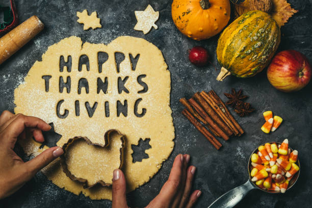 thanksgiving concept - baking ingredients and symbols - thanksgiving stock pictures, royalty-free photos & images