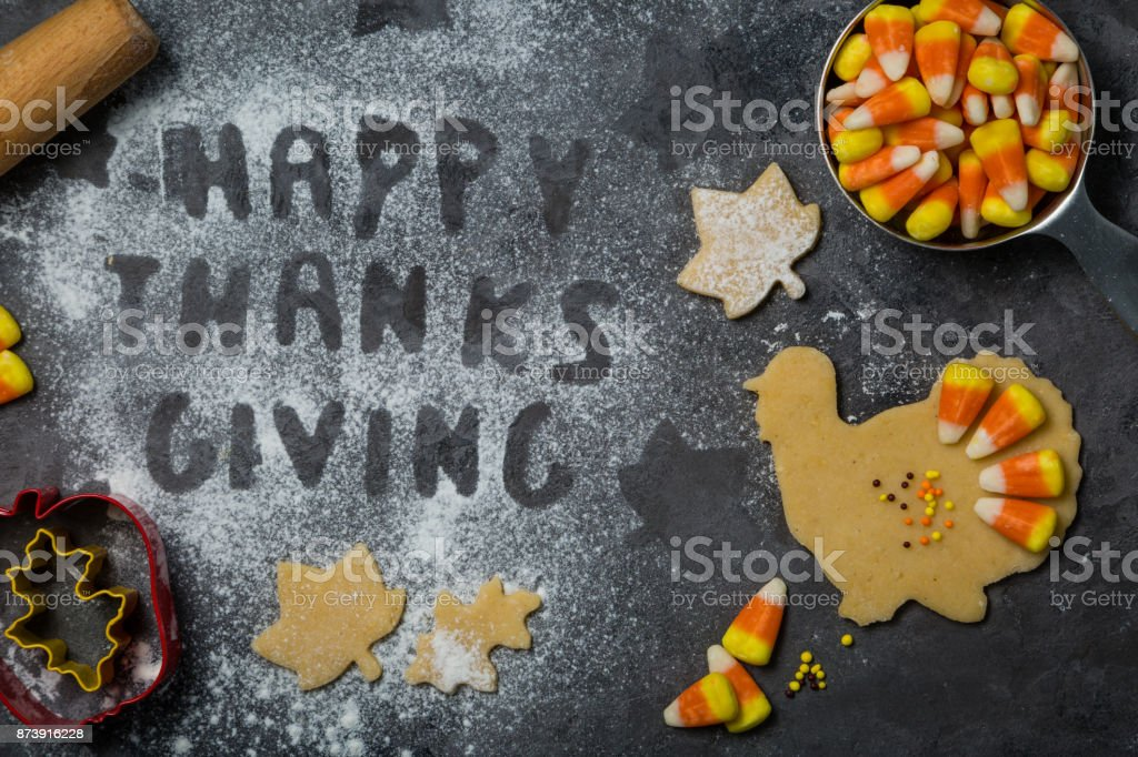 Thanksgiving concept - baking ingredients and symbols stock photo