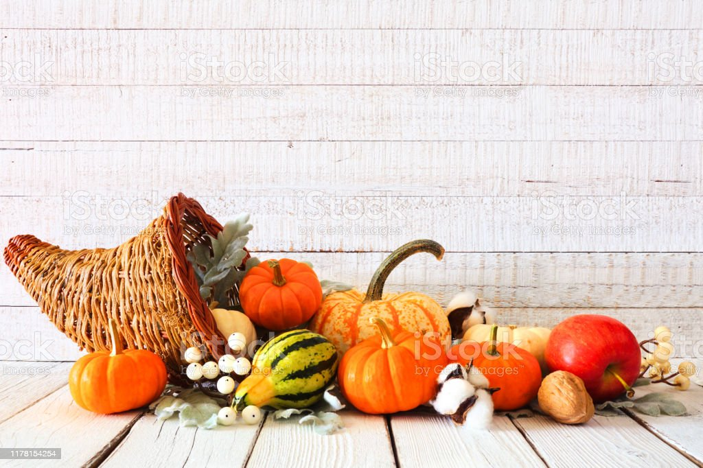 Thanksgiving Cornucopia Filled With Autumn Vegetables And ...