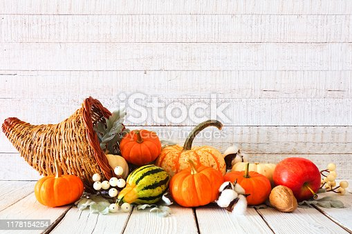 istock Thanksgiving cornucopia filled with autumn vegetables and pumpkins against white wood 1178154254