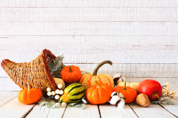 Thanksgiving cornucopia filled with autumn vegetables and pumpkins against white wood stock photo