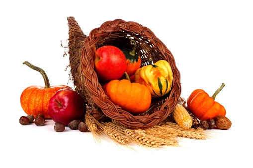 Thanksgiving Cornucopia With Pumpkins Apples And Gourds ...