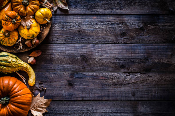 Thanksgiving day or autumn pumpkin holiday background Top view of autumnal colorful pumpkins and fallen leaves placed at the left border of a rustic wooden table leaving useful copy space for text and/or logo. Predominant colors are orange, yellow and brown. Low key DSRL studio photo taken with Canon EOS 5D Mk II and Canon EF 100mm f/2.8L Macro IS USM. fall background stock pictures, royalty-free photos & images