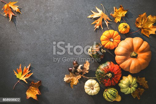 istock Thanksgiving day or seasonal autumnal background with pumpkins and fallen leaves 858958922