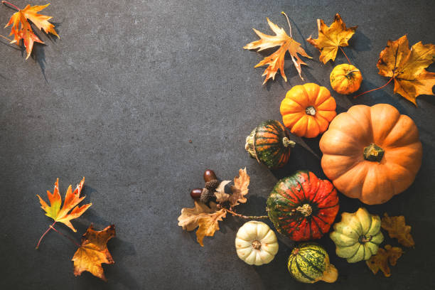 thanksgiving day or seasonal autumnal background with pumpkins and fallen leaves - thanksgiving stock photos and pictures