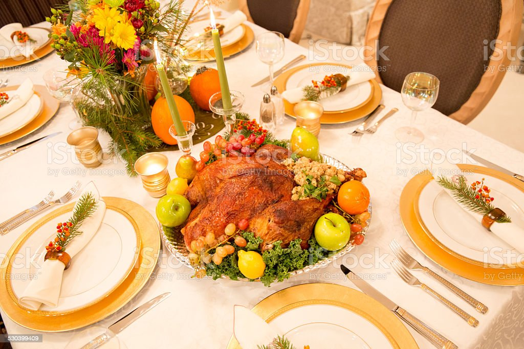 Thanksgiving Dining Table With Decorated Turkey Platter For Holiday Dinner Royalty Free Stock Photo
