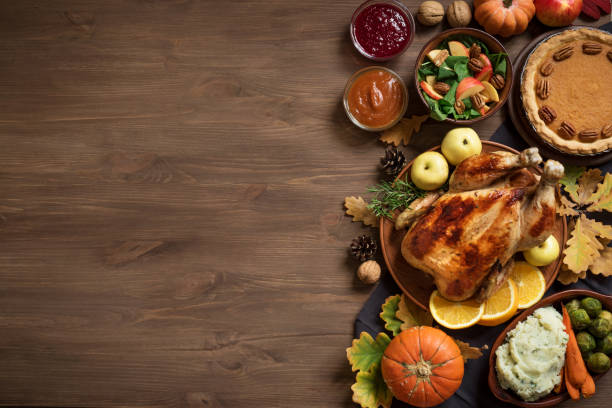 thanksgiving dinner background - food stock pictures, royalty-free photos & images