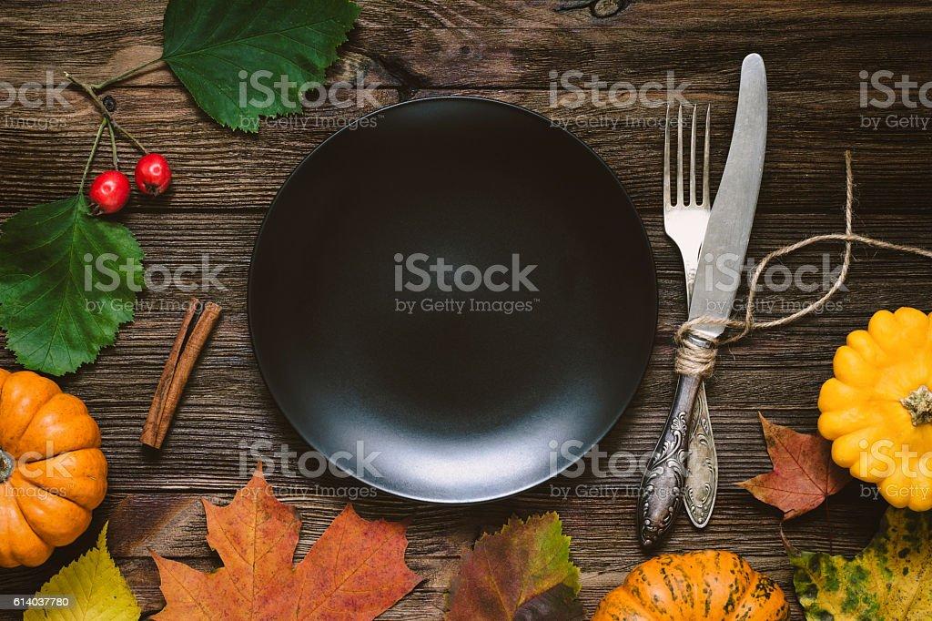Thanksgiving dinner menu: crockery stock photo