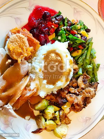 Close-up of a Thanksgiving plate with typical Roast Turkey and all accompaniments.