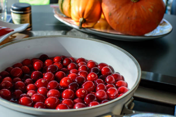 Thanksgiving dinner preparation of cranberry sauce and Autumn harvest traditional food stock photo