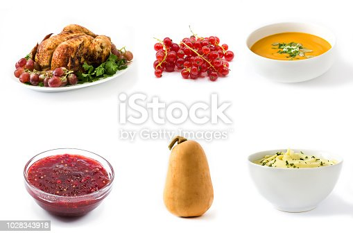 Thanksgiving food collage on white background