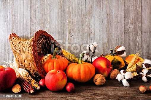 Thanksgiving harvest cornucopia filled with autumn fruits and vegetables. Side view against a rustic grey wood background.