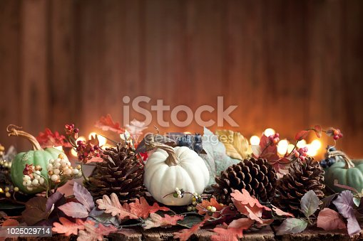 Thanksgiving holiday lit garland with pumpkins against Christmas lights and a rustic wood background