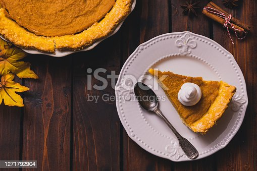 Thanksgiving holiday pumpkin pie with whipped topping