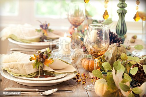 Thanksgiving holiday rustic dining table place settings